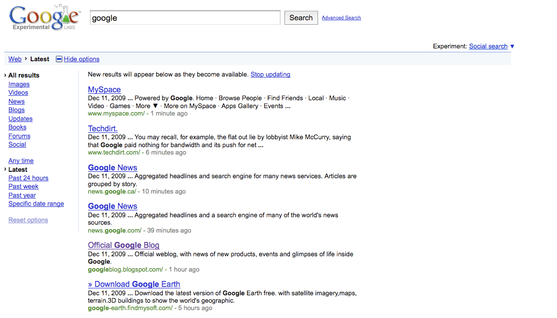 Google Real Time Search Latest