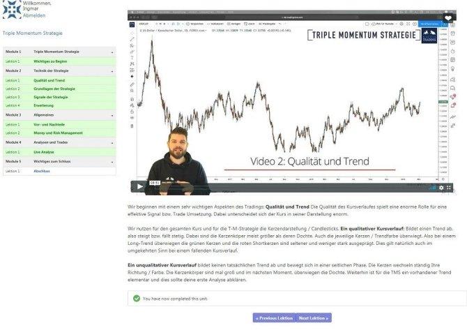 Kagels Trading.de Die Triple Momentum Strategie Video Module und Lektionen Erfahrungen