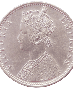 One Rupees India 1881 Queen Victoria Emperor Silver Coin