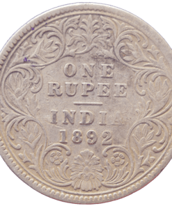 One Rupees India 1892 Rare Queen Victoria Emperor Silver Coin C Mark