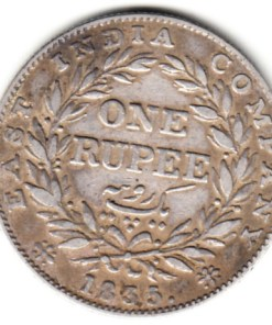 East india company 1835 william iv silver one rupee very rare genuine #1