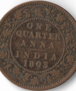 One Quarter Anna India 1903 Victoria Empress British India Copper Coin #28
