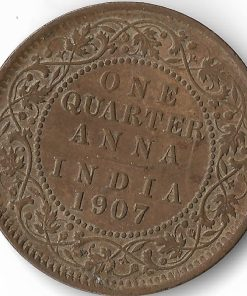 One Quarter Anna India 1907 Victoria Empress British India Copper Coin #29