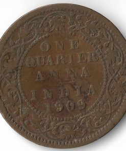 Rare One Quarter Anna India 1909 Edward Vii British India Copper Coin #31