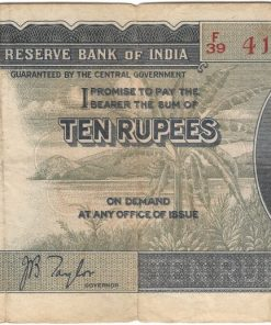 10 Rupees of King George VI signed by J.B. Taylor