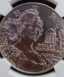 America One Dollar 1999 Dolley Madison NGC Grading 69 Grade Silver