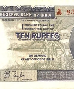 1938, King George VI, 10 Rupees, First Issue, signed by J.B. Taylor, serial no in red, SL.No. G 89 831940