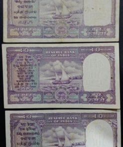 India 10 Rupees Three different governor Two note Unc.. One Note exta fine B. Ramarao Iyenger P. C. Bhatthacharya