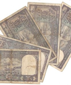 10 Rupee Fafda Issue Black Boat 5 Notes Collection **Singed By PC Bhattacharya** Same as Per Shown - Lowest Price Deal ❤ #3