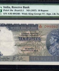 10Rs Side Face King George-VI, Sign. J.B. Taylor British India Rare Note. Condition - PMG 55 Grade, About UNC