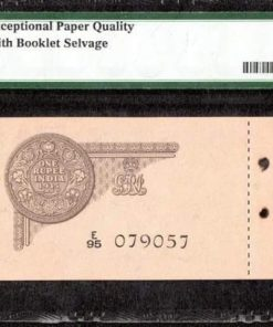 One Rupee 1935 S/N E/95 079057 - Sign. J.W Kelly - Exceptional Paper Quality with Booklet Selvage Extremly Rare -65 Gem UNC - EPQ