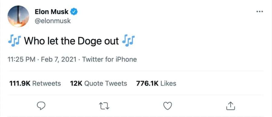 Tweet de Elon Musk sobre Doge