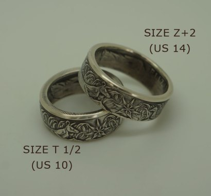 1966-Australian-silver-50-cent-coin-ring-size10-14