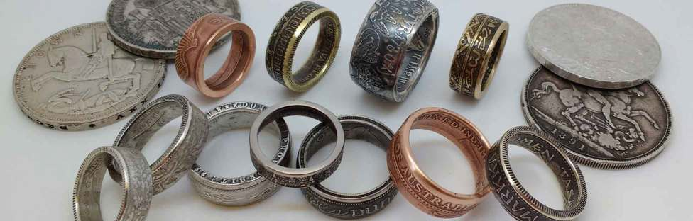 Coin Rings hand made from vintage coins