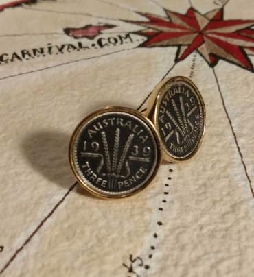Australian 3 pence coin cuff links