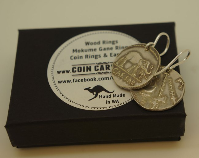 Roman Cesar elephant coin earrings by coin carnival