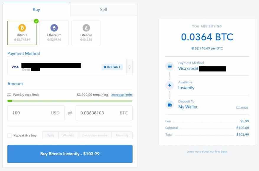 acheter bitcoin avec une carte de crédit sur coinbase
