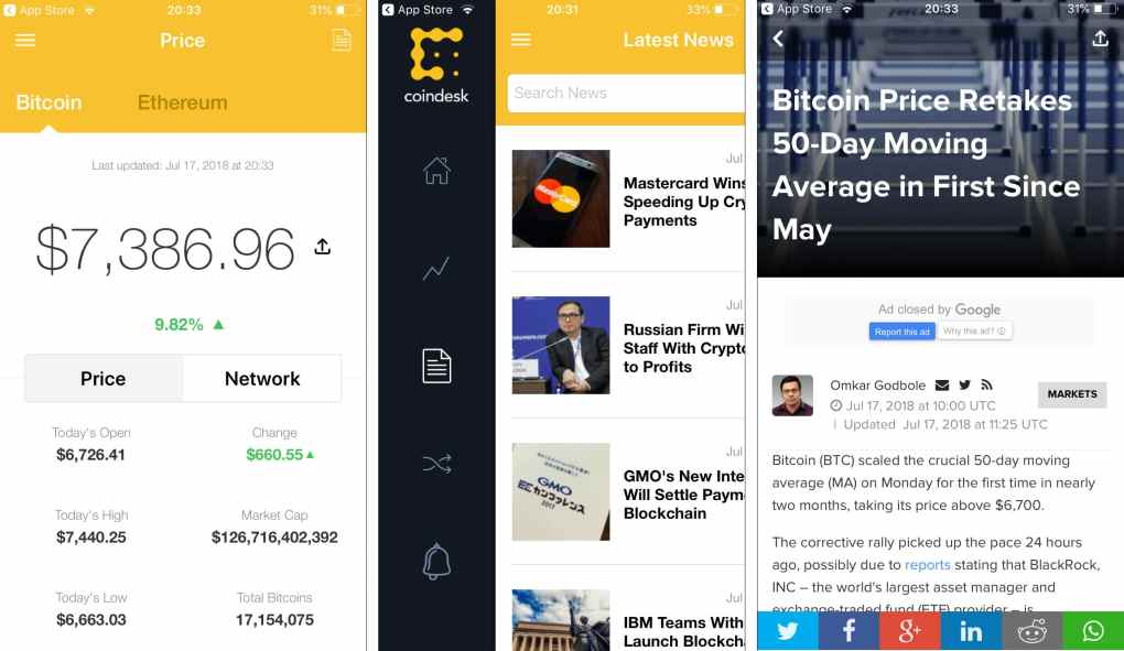 Cryptocurrency App, Coindesk, is a crypto news app. The first screenshot shows an Ethereum price change, the second shows the latest news, and the third shows a specific article.