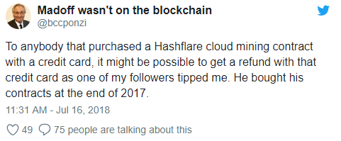 HashFlare User Disputes Charges to Credit Card Company