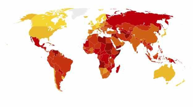 Global Corruption Index viaTransperancy International