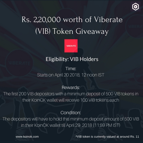 a VIB token giveaway in India. Win free 100 VIB tokens