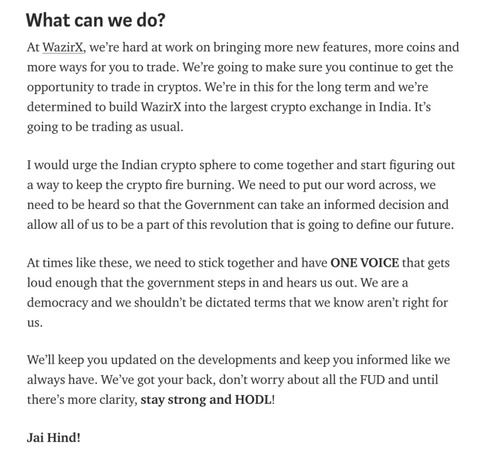 what did wazirX say about the RBI ban on banks and cryptocurrencies