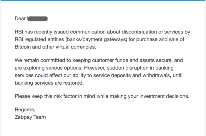 Zebpay warns about disruption in services