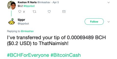 Keshav Narla tipping bitcoin cash using tipprbot on twitter