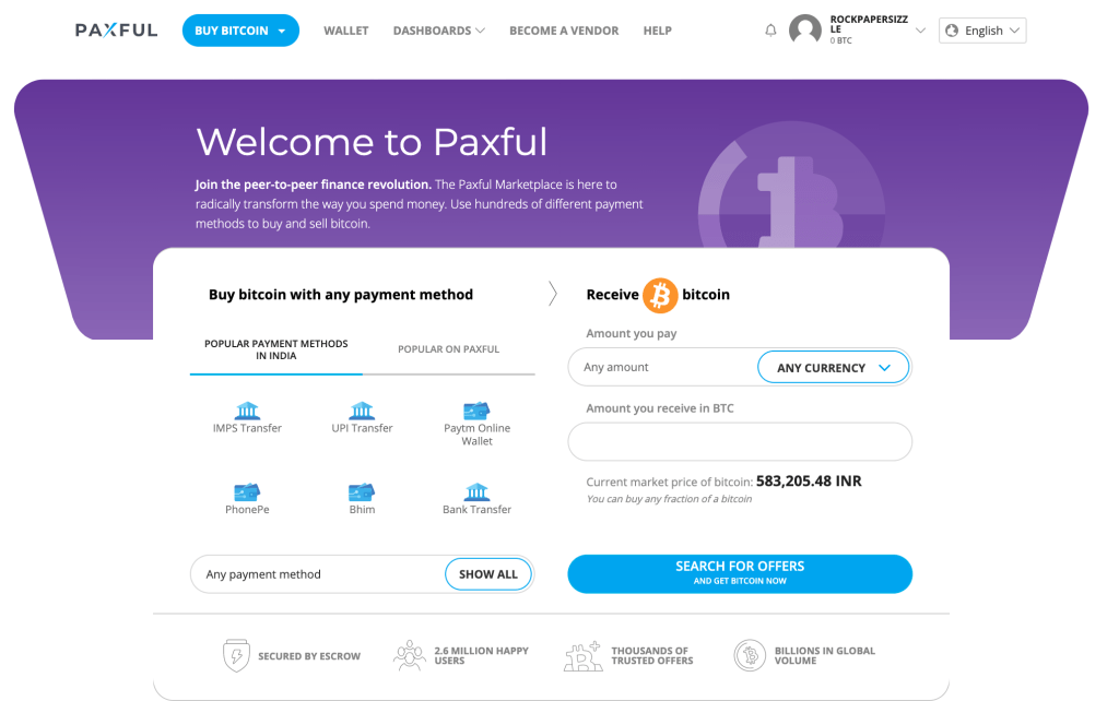 paxful cryptocurrency exchange peer to peer homepage
