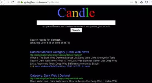 moteur de recherche darknet candle
