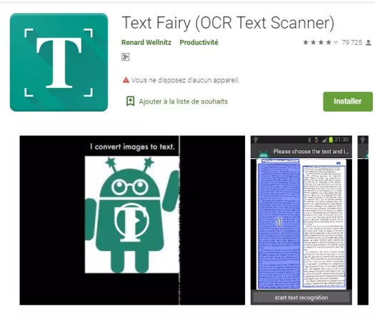 Text  Fairy - applications pour scanner documents - sur android.
