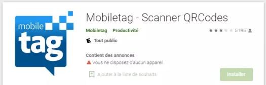 MobileTag - application qr code