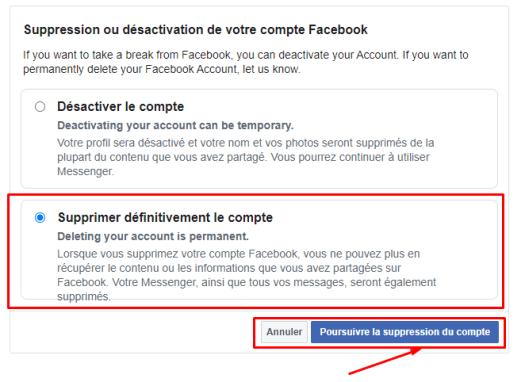 supprimer définitivement le compte facebook