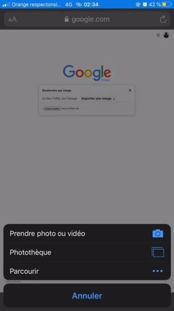 recherche par image inversée iphone