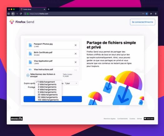 comment envoyer un fichier volumineux via Firefox Send