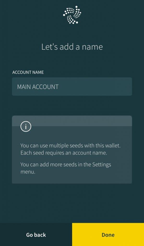 Creating Account Name On IOTA Trinity Wallet