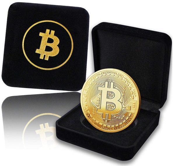 Bitcoin Münze mit 24-Karat Echt-Gold