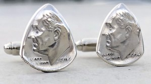 1964 US 90% Silver Dime Cufflinks 5 Coin Guitar Pick, Coin Guitar Picks