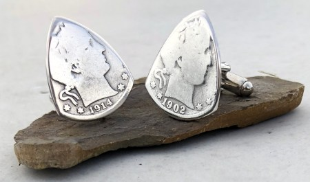 Barber Quarter 90% Silver Cuff Links 2 Coin Guitar Pick, Coin Guitar Picks