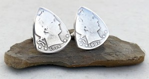 Barber Quarter 90% Silver Cuff Links 4 Coin Guitar Pick, Coin Guitar Picks