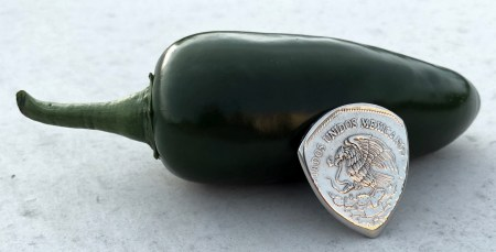 1980 Mexico 5 Pesos 2 Coin Guitar Pick, Coin Guitar Picks
