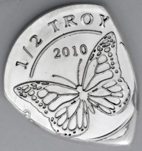 2010 Monarch Mint 1/2 oz Round 99.9% Fine Silver