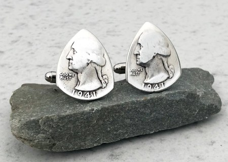 90% Silver US Washington Quarter Cuff Links 1 Coin Guitar Pick, Coin Guitar Picks
