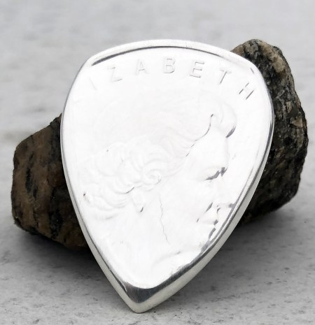 2011 Canada 999% Fine Silver Wolf 2 Coin Guitar Pick, Coin Guitar Picks