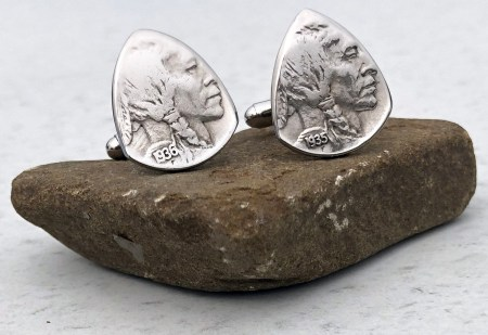 US Buffalo Nickel Cufflinks Coin Guitar Pick, Coin Guitar Picks