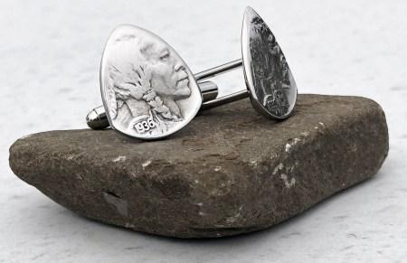 US Buffalo Nickel Cufflinks 2 Coin Guitar Pick, Coin Guitar Picks