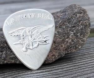 US Navy Seal 999% Silver Coin Guitar Pick, Coin Guitar Picks