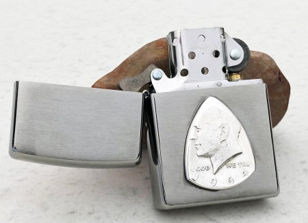 Zippo Soft Flame Lighter with 1964 90% Silver US Half Dollar Coin Guitar Pick, Coin Guitar Picks