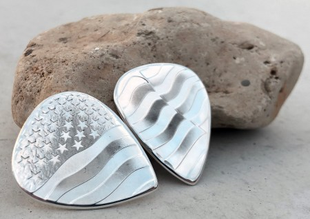 United States Flag Set 999% Fine Silver Coin Guitar Pick, Coin Guitar Picks