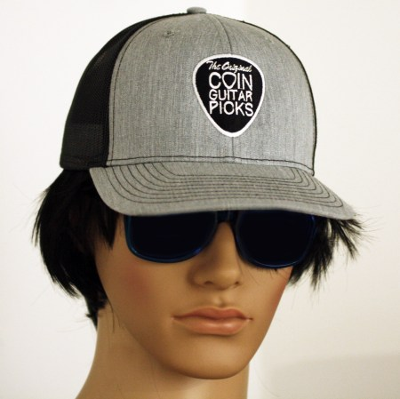 The Original Coin Guitar Picks Hat on head